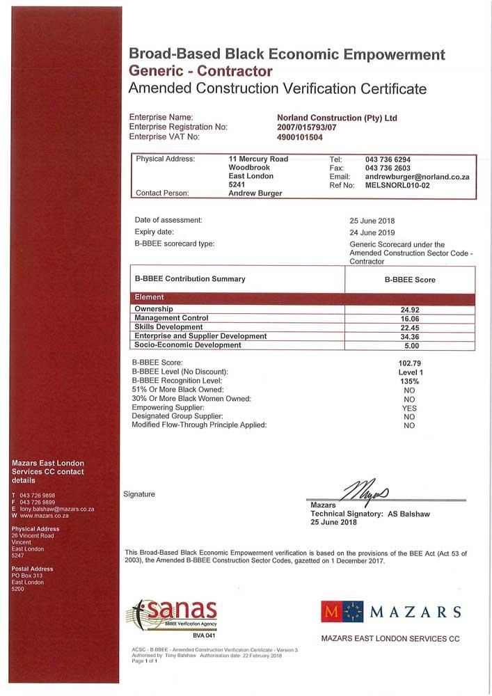 Norland BEE Certificate 2018